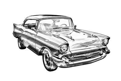 1957 Chevy Bel Air Illustration Art Print