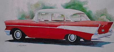 Old Truck Painting - 1957 Chevy by John  Svenson