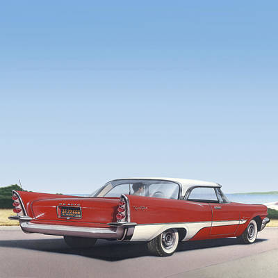1950s Fashion Painting - 1957 De Soto - Square Format Image Picture by Walt Curlee
