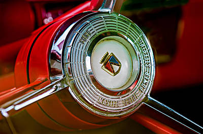 1957 Ford Photograph - 1957 Ford Fairlane Convertible Steering Wheel Emblem by Jill Reger