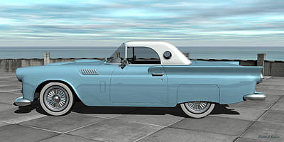 Digital Art - 1957 Ford Thunderbird by Walter Colvin