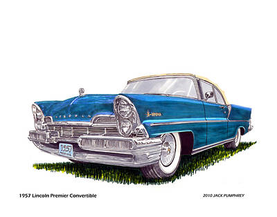Painting - 1957 Lincoln Premier Convertible by Jack Pumphrey