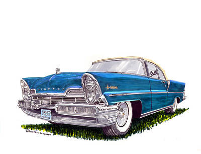 Classic Car Drawings Painting - 1957 Lincoln Premiere Convert by Jack Pumphrey