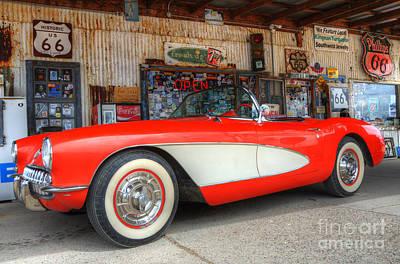 1957 Little Red Corvette Route 66 Art Print by Bob Christopher