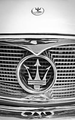 Photograph - 1957 Maserati Grille Emblem -0390bw by Jill Reger
