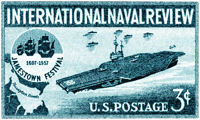 Us Navy Aircraft Painting - 1957 Naval Review Stamp by Historic Image