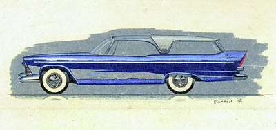 Car Art Drawing - 1957 Plymouth Cabana  Station Wagon Styling Design Concept Sketch by John Samsen