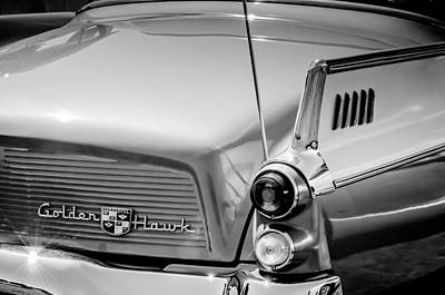 Photograph - 1957 Studebaker Golden Hawk Hardtop -2931bw by Jill Reger