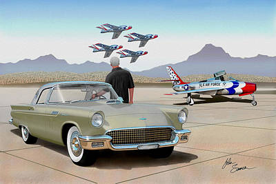 Cougar Digital Art - 1957 Thunderbird  With F-84 Thunderbirds Inca Vintage Ford Classic Art Sketch Rendering            by John Samsen