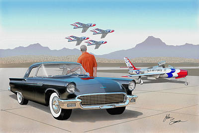 Cougar Digital Art - 1957 Thunderbird  With F-84 Thunderbirds Vintage Ford Classic Car Art Sketch Rendering          by John Samsen