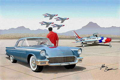 Road Runner Painting - 1957 Thunderbird  With F84 Thunderbirds  Azure Blue  Classic Rendering  by John Samsen