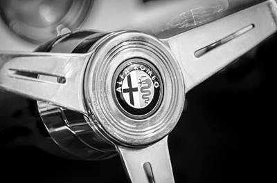 Photograph - 1958 Alfa Romeo Giulietta Spider Steering Wheel -0191bw by Jill Reger