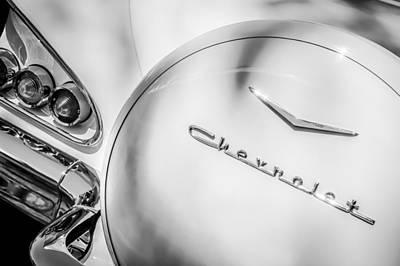 Photograph - 1958 Chevrolet Bel Air Convertible Taillight Emblem -0272bw by Jill Reger
