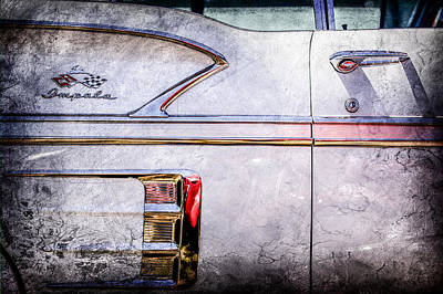 Chevy Bel Air Photograph - 1958 Chevrolet Belair Impala Convertible Side Emblem -0615ac by Jill Reger