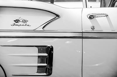 1958 Chevrolet Belair Impala Convertible Side Emblem -0615bw Art Print