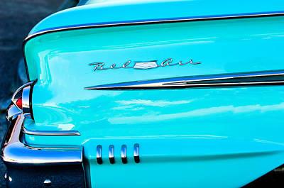 1958 Chevrolet Belair Tail Emblem Art Print by Jill Reger