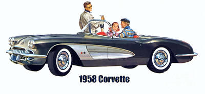 Digital Art - 1958 Chevrolet Corvette by Walter Colvin