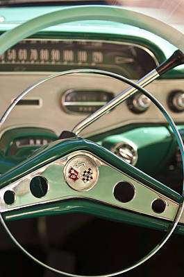 1958 Chevrolet Impala Steering Wheel Art Print