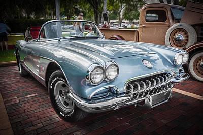 1958 Chevy Corvette Painted Art Print