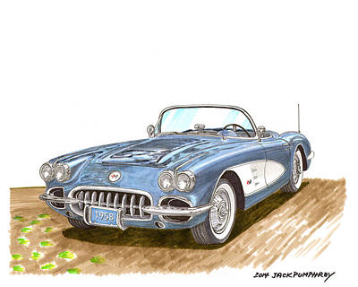 Pikes Peak Painting - 1958 Corvette Roadster by Jack Pumphrey