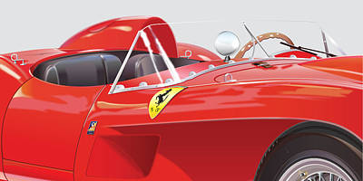 1960 Digital Art - 1958 Ferrari 250 Testa Rossa Detail by Alain Jamar