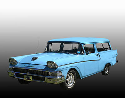 Ford Watercolor Photograph - 1958 Ford Ranch Wagon by Jack Pumphrey