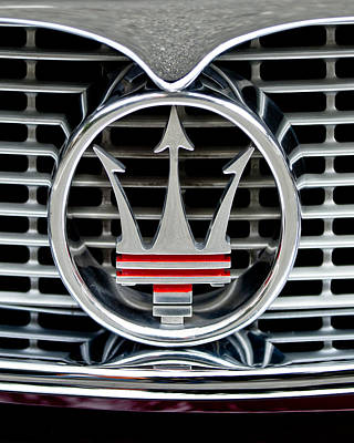 Photograph - 1958 Maserati Hood - Grille Emblem -0606c45 by Jill Reger