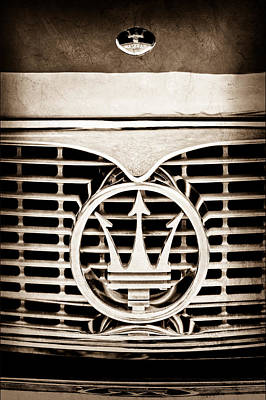 Photograph - 1958 Maserati Hood - Grille Emblem by Jill Reger