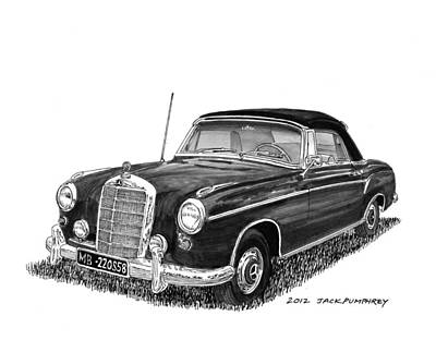 Car Art Drawing - 1958 Mercedes Benz 220s by Jack Pumphrey