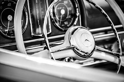 Mercedes Benz 300 Sl Classic Car Photograph - 1958 Mercedes-benz 300sl Roadster Steering Wheel -1131bw by Jill Reger