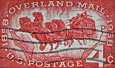 Photograph - 1958 Overland Mail Stamp by Bill Owen