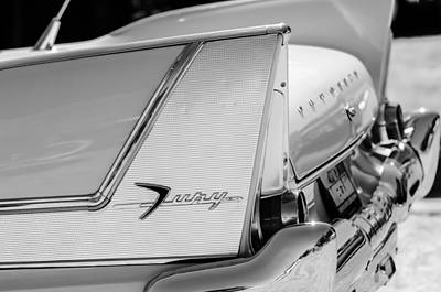 Fury Photograph - 1958 Plymouth Fury Golden Commando Taillight Emblem -3447bw by Jill Reger