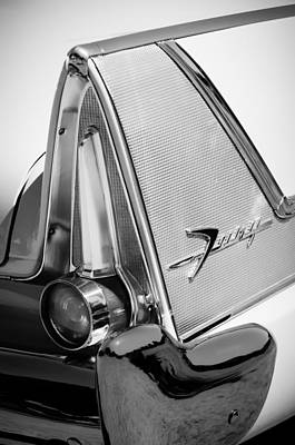 Fury Photograph - 1958 Plymouth Fury Golden Commando Taillight Emblem -3467bw by Jill Reger