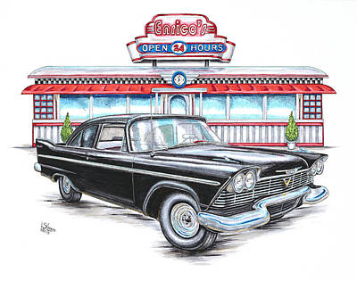 1958 Plymouth Savoy And Diner Art Print
