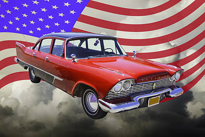 Photograph - 1958 Plymouth Savoy Car With American Flag by Keith Webber Jr