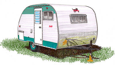 Painting - 1958 Scotty Camping Travel Trailer by Jack Pumphrey