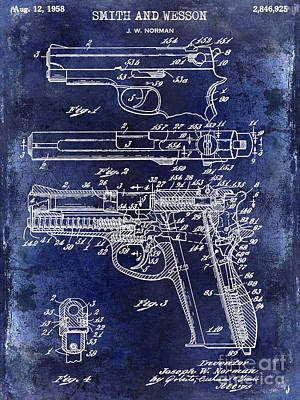 Smith And Wesson Photograph - 1958 Smith And Wesson Firearm Patent Drawing Blue by Jon Neidert