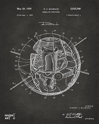 Science Fiction Drawing - 1958 Space Satellite Structure Patent Gray by Nikki Marie Smith