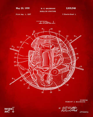 Drawing - 1958 Space Satellite Structure Patent Red by Nikki Marie Smith