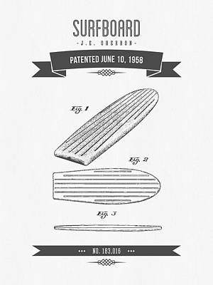 Surfboards Digital Art - 1958 Surfboard Patent Drawing - Retro Gray by Aged Pixel