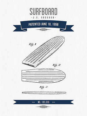 1958 Surfboard Patent Drawing - Retro Navy Blue Art Print