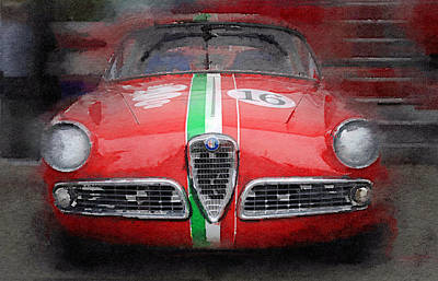 Classic Cars Digital Art - 1959 Alfa Romeo Giulietta Watercolor  by Naxart Studio