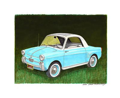 Turn Of The Century Drawing - 1959 Autobianchi Bianchina by Jack Pumphrey