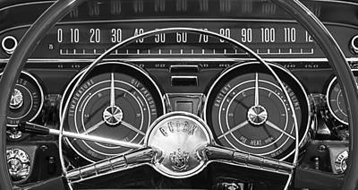 Black And White Abstract Photograph - 1959 Buick Lasabre Steering Wheel by Jill Reger