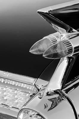 Tail Fin Photograph - 1959 Cadillac Eldorado Taillight -075bw by Jill Reger