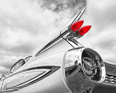 Photograph - 1959 Cadillac Fleetwood Tail Fin Bw by Gill Billington
