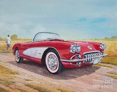 1959 Chevrolet Corvette Cabriolet Art Print