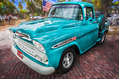 Old Trucks Photograph - 1959 Chevy Pick Up Truck Apache Series Painted by Rich Franco