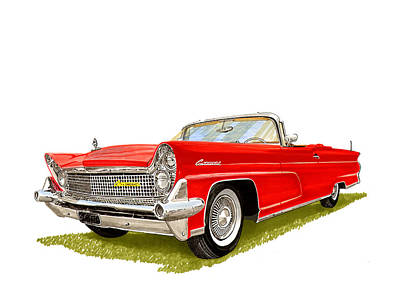 Classic Car Drawings Painting - 1959 Continental Convertible by Jack Pumphrey