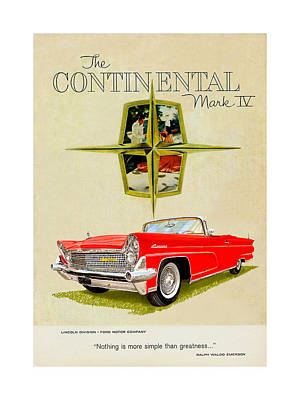Painting - 1959 Continental Vintage Ad by Jack Pumphrey